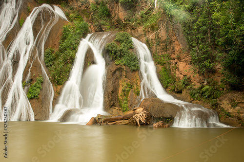 The Waterfall known as Cachoeira Paraiso do Cerrado located near the city of Mambia and Damianopolis in the State of Goias, Brazil