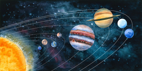 Watercolor solar system with planets. Hand drawn illustration. Painted universe is perfect for astrologer blog, interior wallpaper, poster, laptop background, science and cosmic design