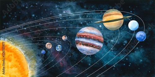 Fotografie, Obraz Watercolor solar system with planets