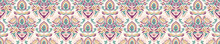 Old Indian Arabesque Damask Seamless Border Pattern. Ornate Spice Color Marsala Red Yellow Middle Eastern Style  Vector Background. Vintage Ethnic Decorative Floral Medallion Banner. Ribbon Trim Edge.