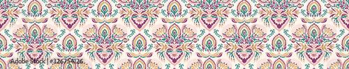 Old indian arabesque damask seamless border pattern. Ornate spice color marsa...
