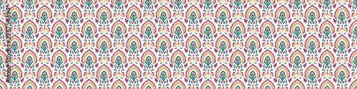 Old indian arabesque paisley buta leaf seamless vector border pattern. Ornate...