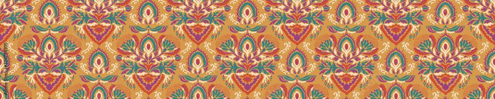 Fototapeta Old indian arabesque damask seamless border pattern. Ornate spice color marsala red yellow middle eastern style  vector background. Vintage ethnic decorative floral medallion banner. Ribbon trim edge.