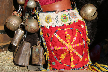 Moscow Maslenitsa Festival. Traditional national celebration in russian folk style. Slavic tradition. Performance with artists in Moscow city, Russia. Detail of ethnic costume. Ornamental bohemian bag