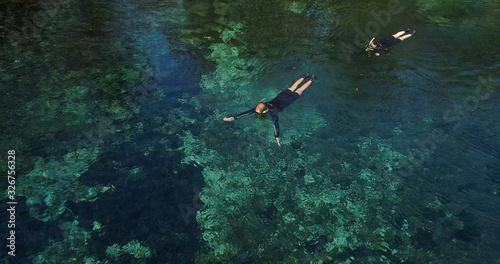 Divers in the river in Bonito state of Mato Grosso Tablou Canvas
