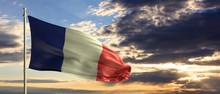 France National Flag Waving On...