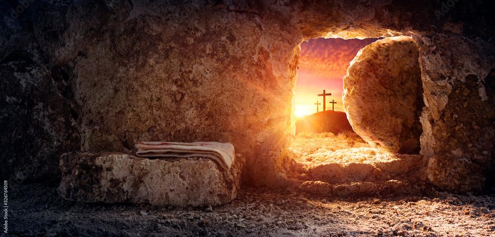 Fototapeta Tomb Empty With Shroud And Crucifixion At Sunrise - Resurrection Of Jesus Christ