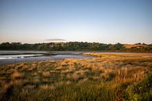 Wetland Landscape On Sunset At...