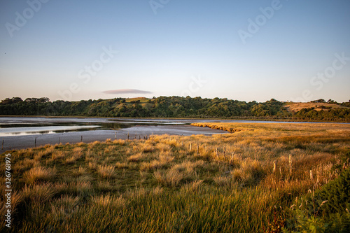 Foto Wetland landscape on sunset at Chiloe Island, Chile