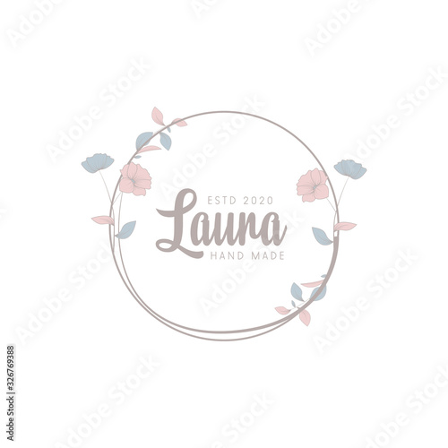 Minimalist logotype laura with leaf element vector eps 10 Wallpaper Mural