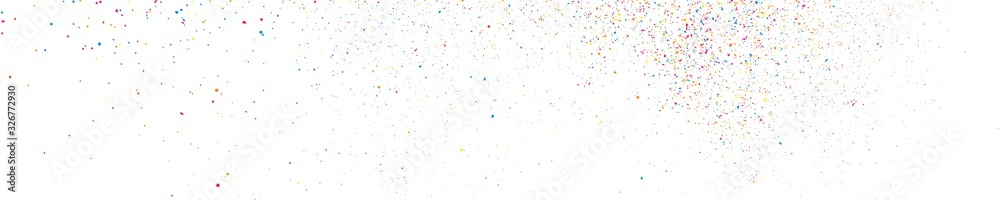 Fototapeta Abstract Explosion of Confetti. Colorful Grainy Texture Isolated on White Panoramic Background. Colored Stains and Blots. Wide Horizontal Long Banner For Site. Illustration, EPS 10.