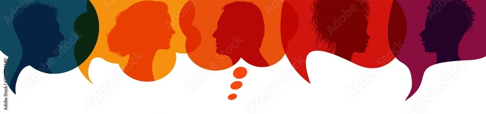 Fototapeta Speech bubble.Silhouette heads people in profile.Talking dialogue and inform.Communicate between a group of multiethnic and multicultural people who talk and share ideas.Diversity people