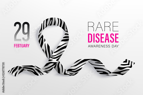 World Rare Disease Day poster with ribbon Wallpaper Mural
