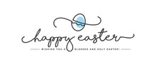Happy Easter Handwritten Typography Lettering Text Line Design Color Egg White Greeting Card