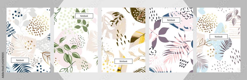 Fototapeta Modern abstract floral art vector notebook background.