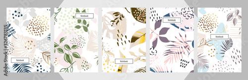 Obraz Modern abstract floral art vector notebook background. - fototapety do salonu