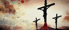 Crucifixion. Watercolor Christian Banner