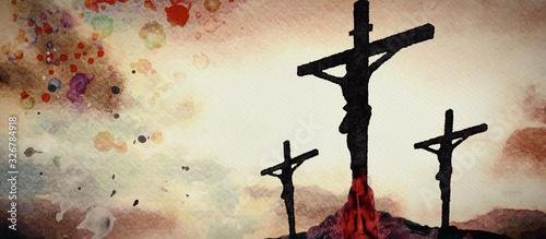 Valokuvatapetti Crucifixion. Watercolor christian banner