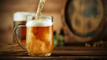 Pouring Beer Into Glass Pint, ...