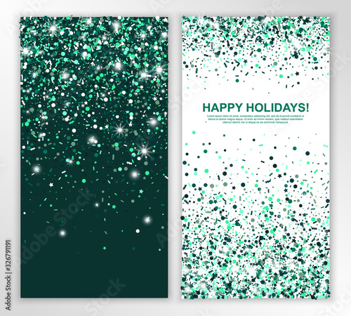 Fototapeta Happy holidays vertical leaflets with shimmer emerald confetti. Vector illustration. Glowing Invitation Template. All isolated and layered obraz na płótnie