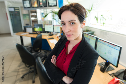 stressed upset woman in office Canvas Print