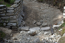 Rock Wall At Dry Aqueduct