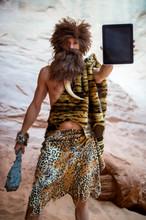 Modern Caveman Holding The Bla...
