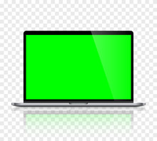 Realistic Laptop Computer Monitor Reflect With Green Screen And Checkerboard Background. Illustration Vector Illustrator Ai EPS