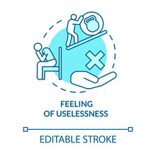 Feeling Of Uselessness Turquoise Concept Icon. Stressed Employee. Sadness And Exhaustion. Burnout Symptom Idea Thin Line Illustration. Vector Isolated Outline RGB Color Drawing. Editable Stroke
