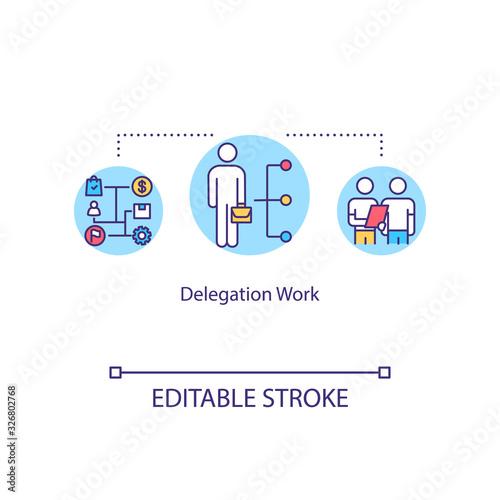 Photo Delegation work concept icon