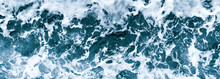 Aerial View Of Salt Ocean Waves. Blue Water Aqua Sea Background Ot Texture. Rippled Spashing Waves Wide Banner Panoramatic Photo.