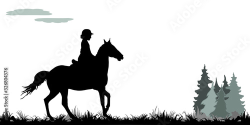 Cuadros en Lienzo girl galloping on a horse in a field, on the grass, isolated image, black silhouette on a white background, forest, clouds