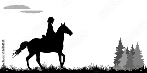 Fotomural girl galloping on a horse in a field, on the grass, isolated image, black silhouette on a white background, forest, clouds