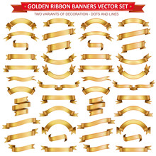 Golden Ribbon Banners Vector Collection