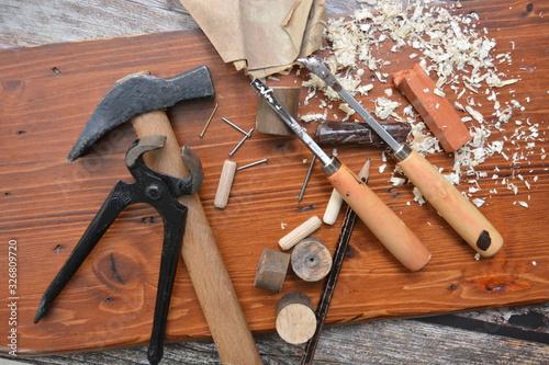 Fotografie, Tablou attrezzi da lavoro per falegnami e per restauro dei mobili di legno