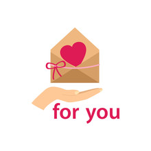Envelope With A Red Heart On H...