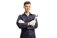 Young Auto Mechanic Holding A ...