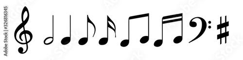 Fototapeta Set of musical notes vector illustration isolated
