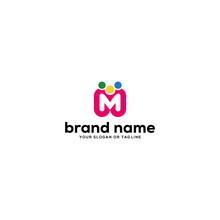 Design Logo Letter M And Peopl...