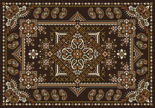 Rectangular Bandana Print Vector Design For Rug, Carpet, Tapis, Shawl, Towel, Textile, Yoga Mat. Neck Scarf Or Kerchief Pattern Design. Traditional Ornamental Ethnic Pattern With Paisley And Flowers.