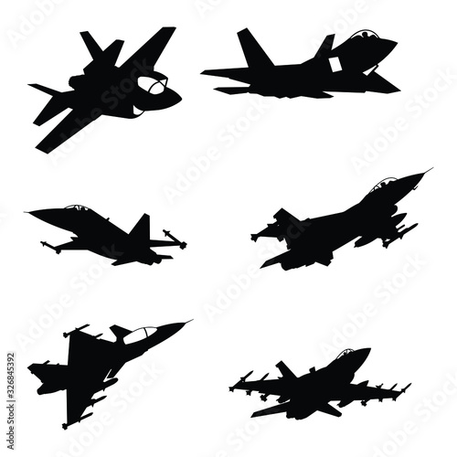 Set of military aircraft fighter silhouette Poster Mural XXL