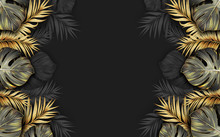 Black And Gold Tropical Leaves...