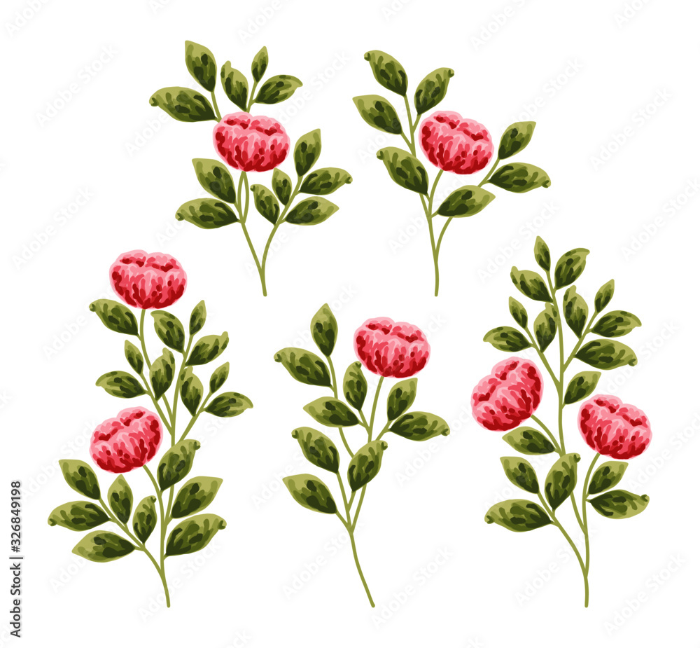 Fototapeta Red peonies, daisy, and green leafs. Beautiful hand-drawn flower vector elements for wedding invitation, clip art, or flower poster