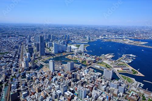 Canvas-taulu 横浜みなとみらい・横浜港・航空写真