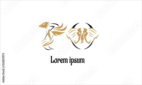 Photo logo, vector logo 70, with the characters of birds and elephants