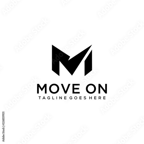 Creative Illustration modern M sign geometric logo design template Canvas Print