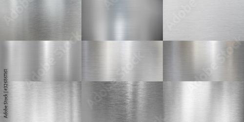 Fototapeta Metal textures brushed or polished aluminum set obraz