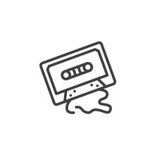 Audio Cassette Line Icon. Linear Style Sign For Mobile Concept And Web Design. Cassette Tape Outline Vector Icon. Retro Music Symbol, Logo Illustration. Vector Graphics