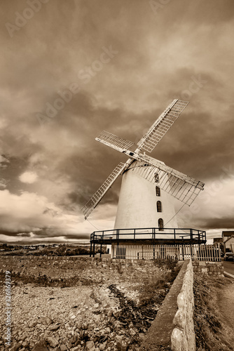 Landscape with an old windmill  at Blennerville in Tralee Bay