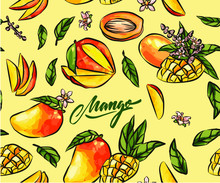Ripe Mangoes On A Bright Background. Sliced manga Slices, Fruit Slices And Cubes, Vector Seamless Pattern In Vintage Style,